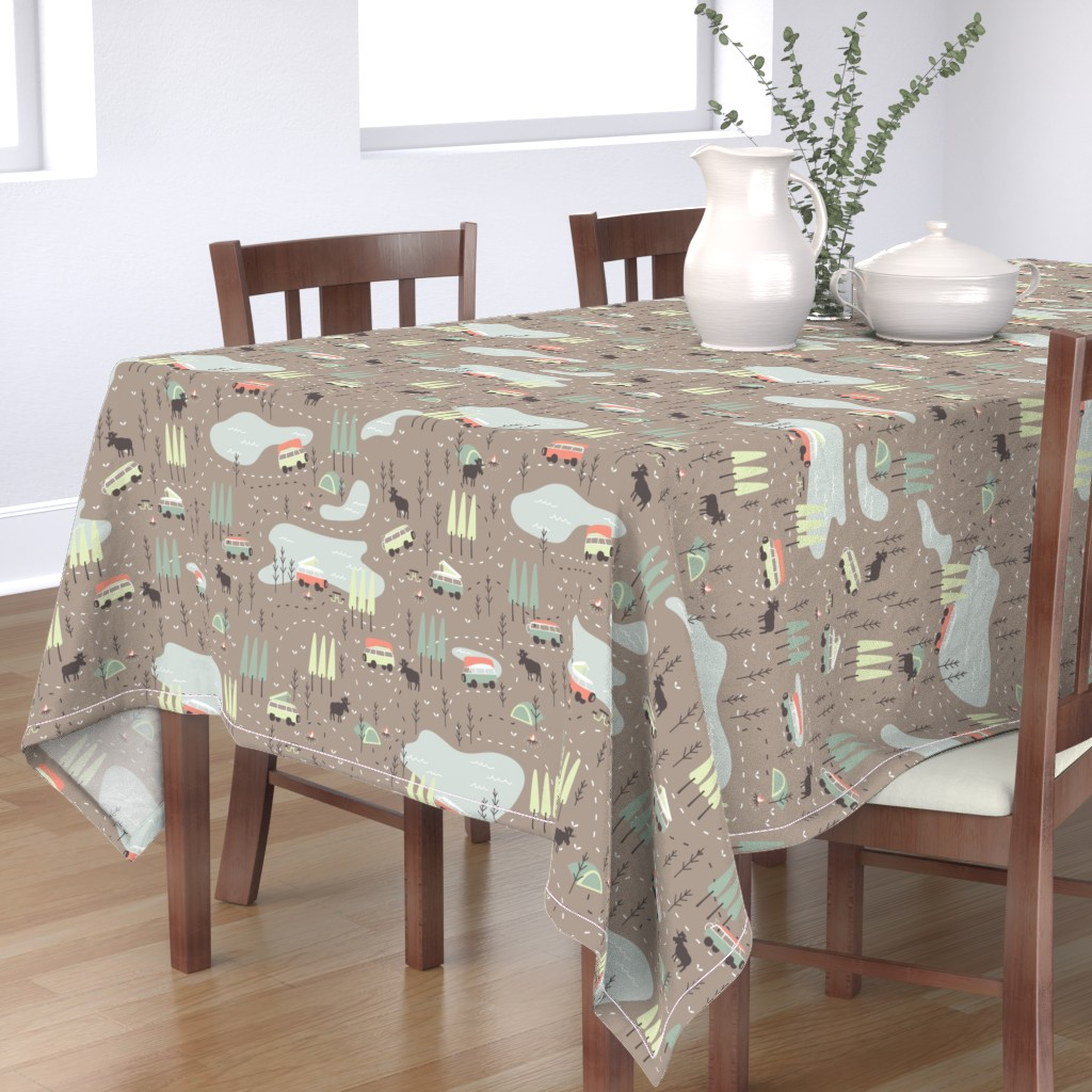 Bantam Rectangular Tablecloth featuring Into the Wild by papercanoefabricshop