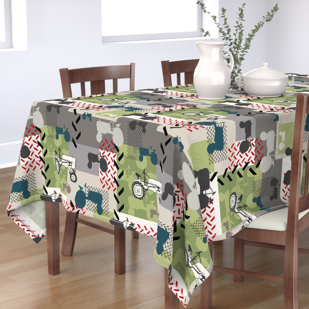 Bantam Rectangular Tablecloth featuring Tractor Montage - Large by fernlesliestudio