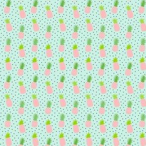 tiny pineapples plus crosses + pink on sky blue :: fruity fun
