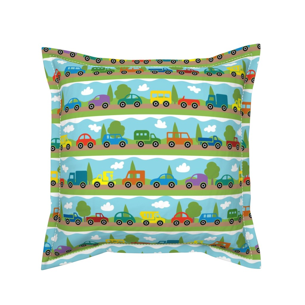 Serama Throw Pillow featuring 4 Wheels by malibu_creative
