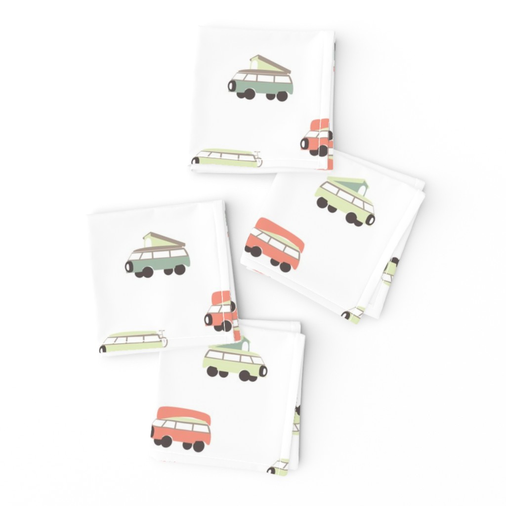 Frizzle Cocktail Napkins featuring Camper - White Background by papercanoefabricshop