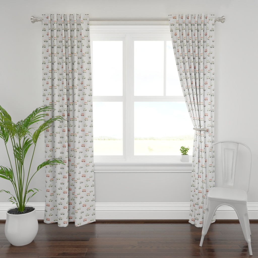 Plymouth Curtain Panel featuring Camper - White Background by papercanoefabricshop