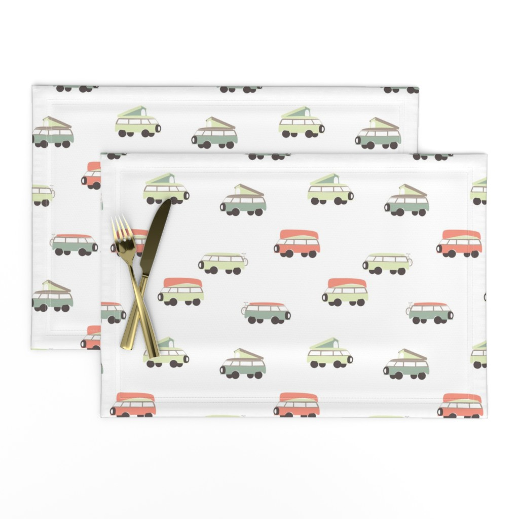 Lamona Cloth Placemats featuring Camper - White Background by papercanoefabricshop
