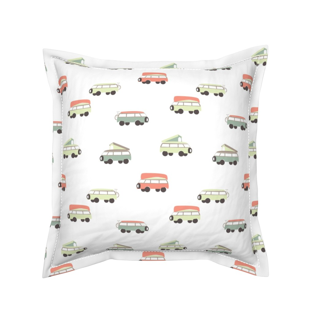 Serama Throw Pillow featuring Camper - White Background by papercanoefabricshop