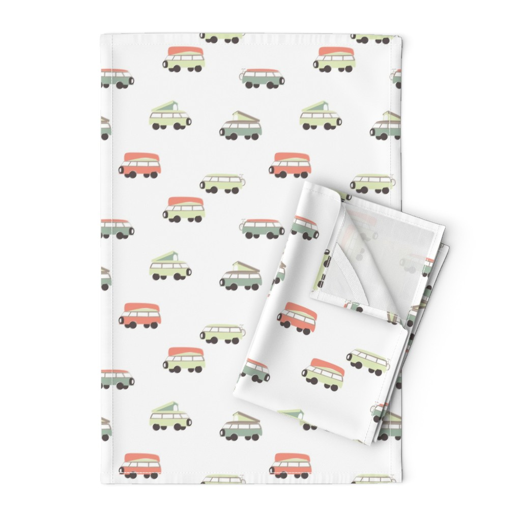 Orpington Tea Towels featuring Camper - White Background by papercanoefabricshop