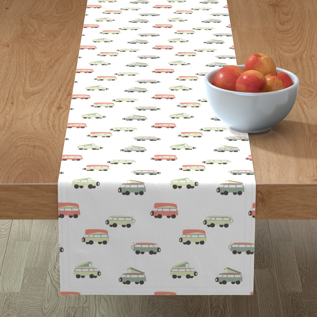 Minorca Table Runner featuring Camper - White Background by papercanoefabricshop