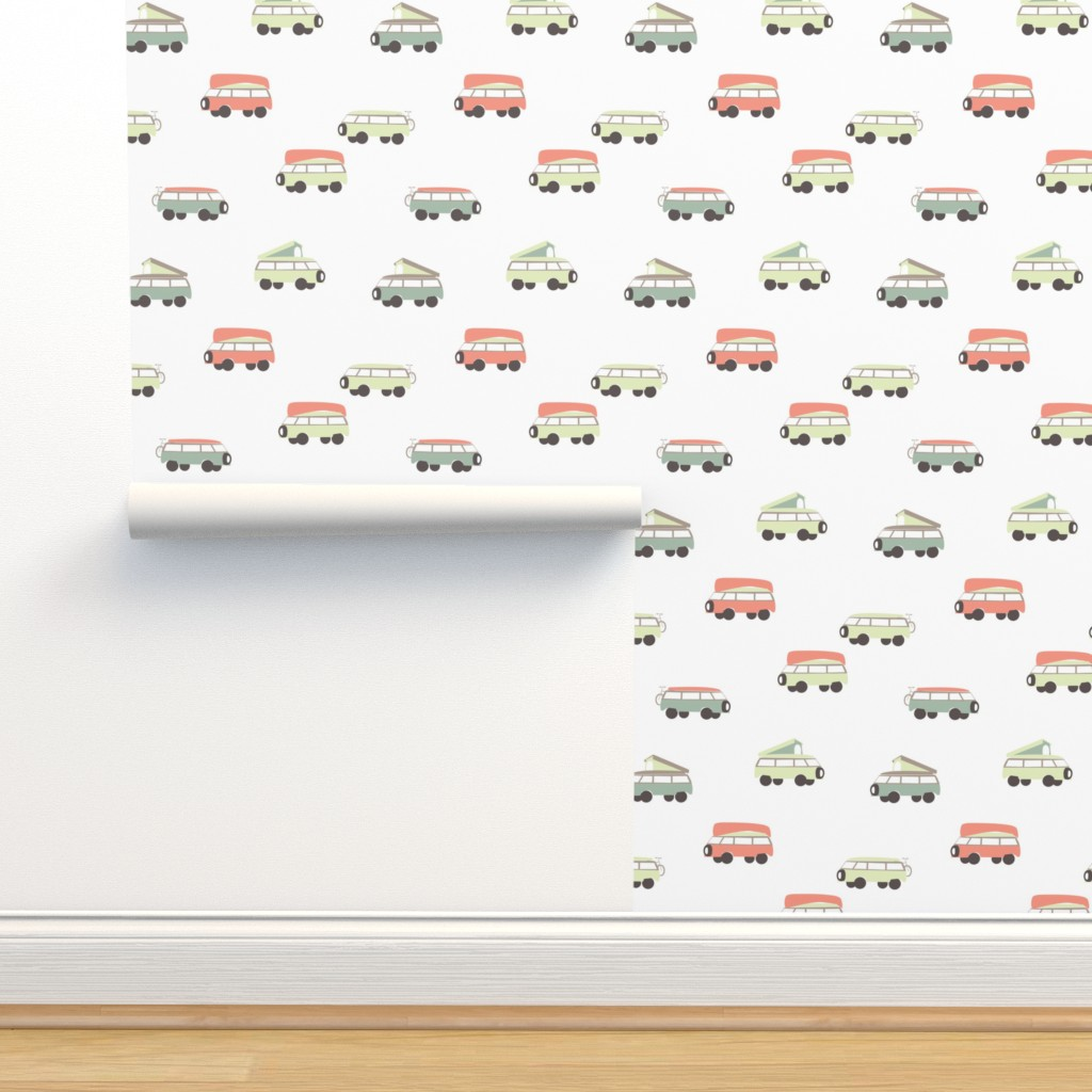 Isobar Durable Wallpaper featuring Camper - White Background by papercanoefabricshop