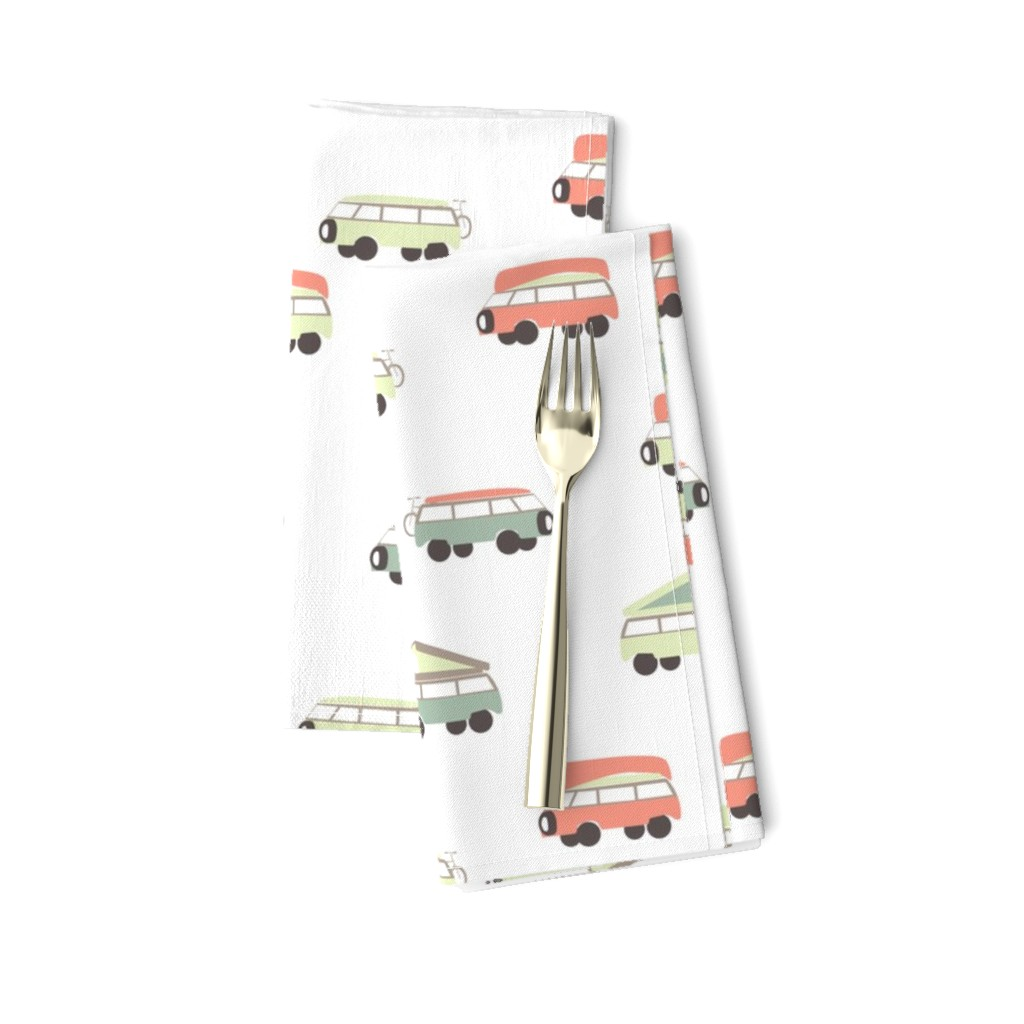 Amarela Dinner Napkins featuring Camper - White Background by papercanoefabricshop