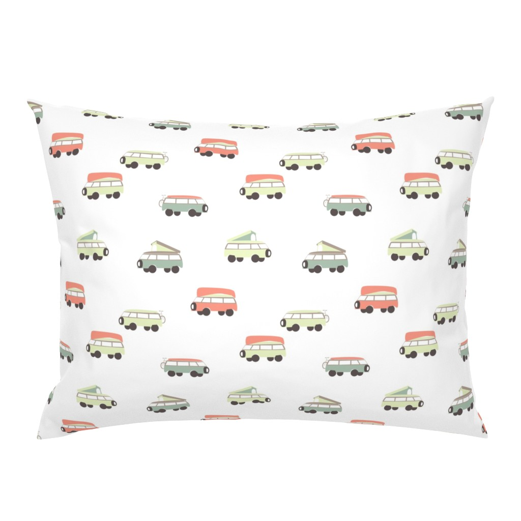 Campine Pillow Sham featuring Camper - White Background by papercanoefabricshop