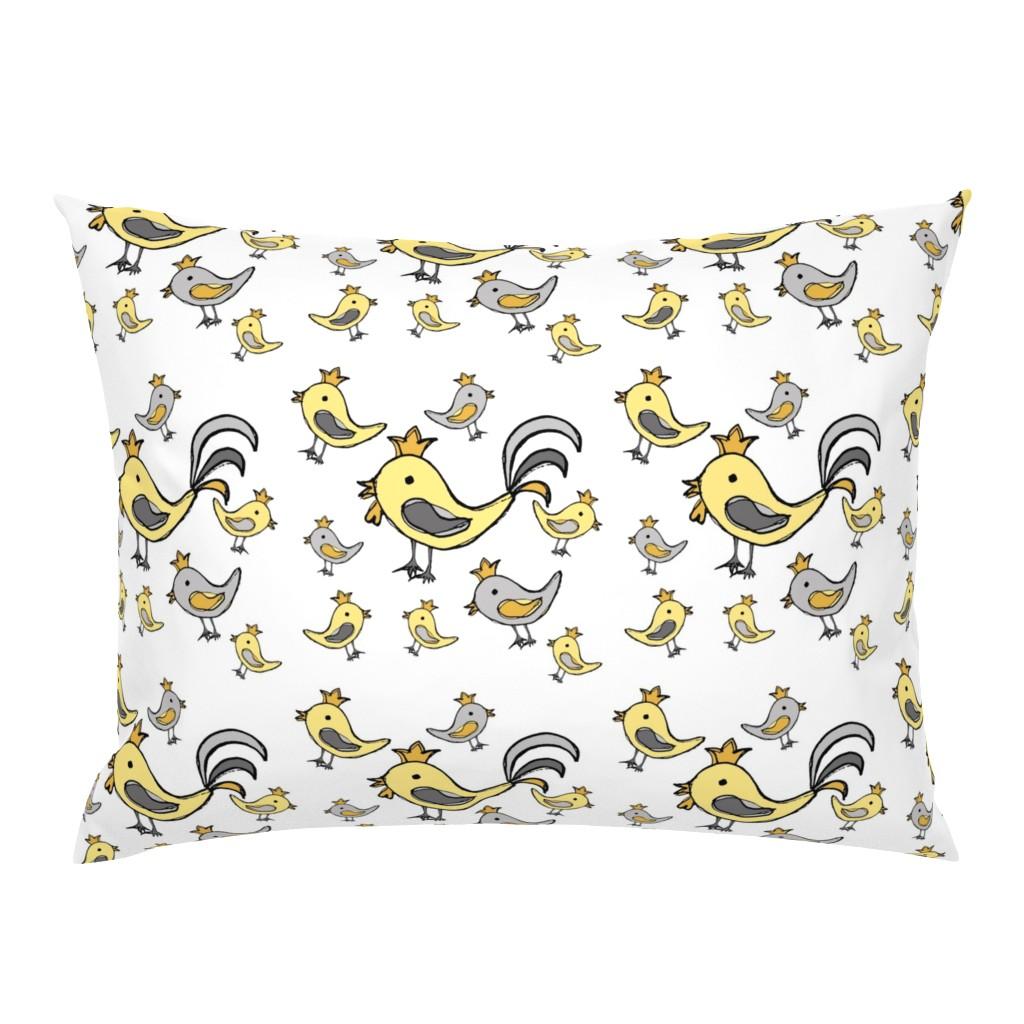 Campine Pillow Sham featuring Huehnerglueck_gelb_grau by grapheum