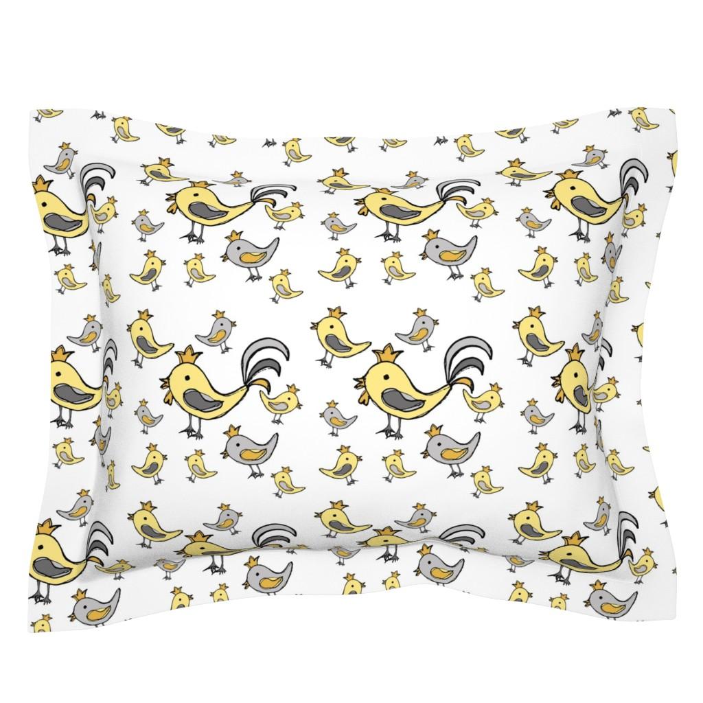 Sebright Pillow Sham featuring Huehnerglueck_gelb_grau by grapheum
