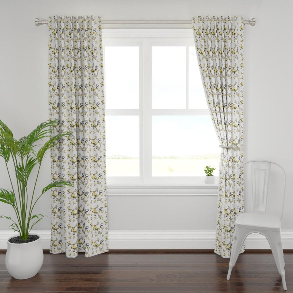 Plymouth Curtain Panel featuring Huehnerglueck_gelb_grau by grapheum