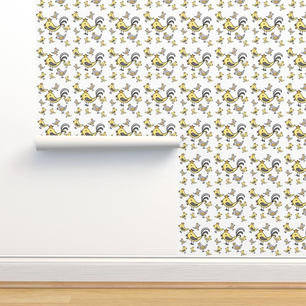 Isobar Durable Wallpaper featuring Huehnerglueck_gelb_grau by grapheum