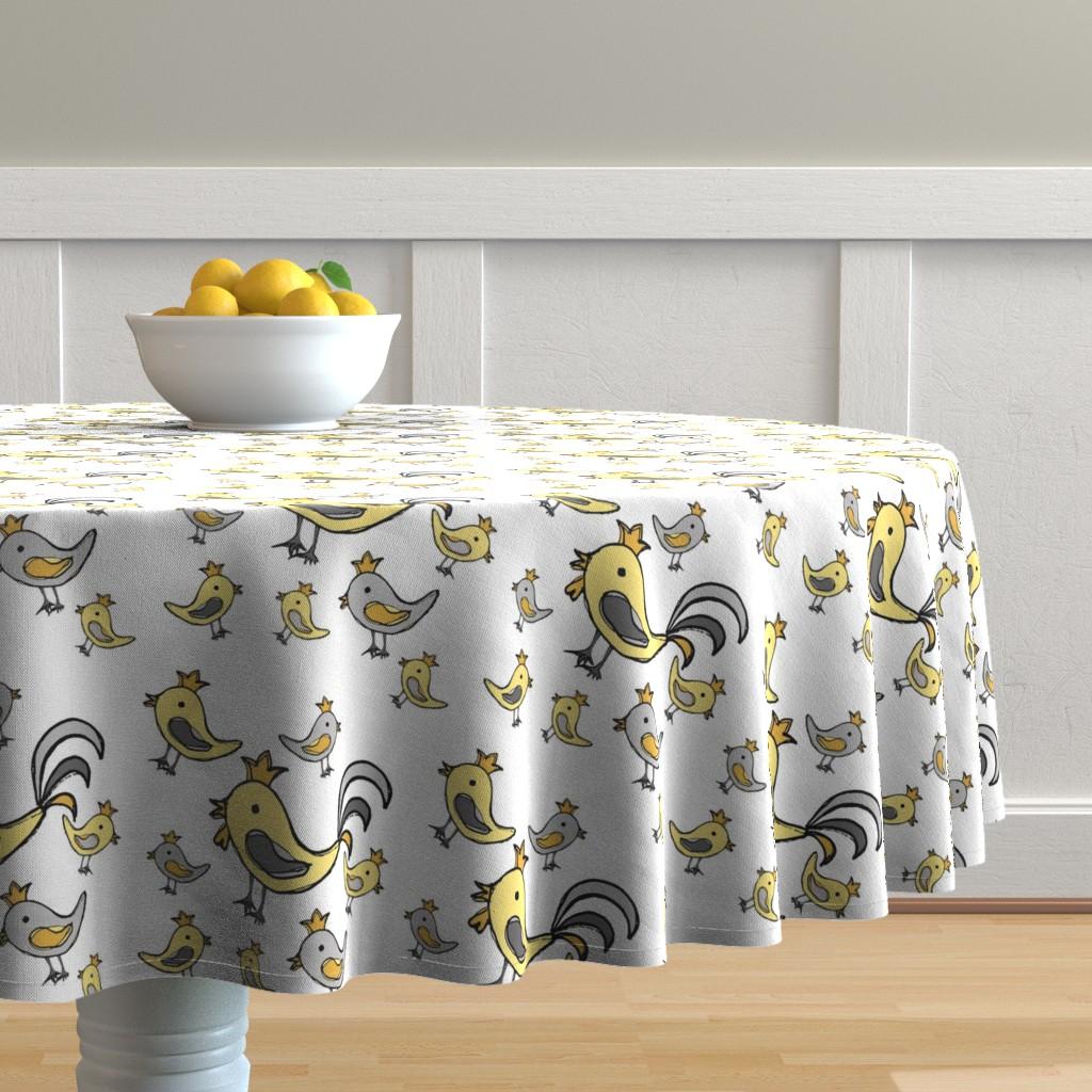 Malay Round Tablecloth featuring Huehnerglueck_gelb_grau by grapheum