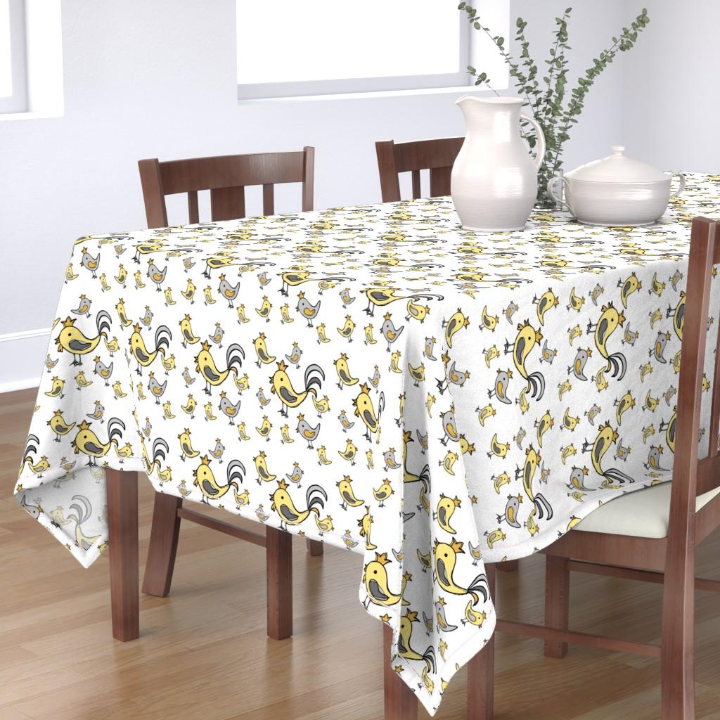 Bantam Rectangular Tablecloth featuring Huehnerglueck_gelb_grau by grapheum
