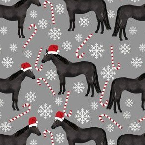 Horse black coat peppermint christmas holiday horses fabric grey