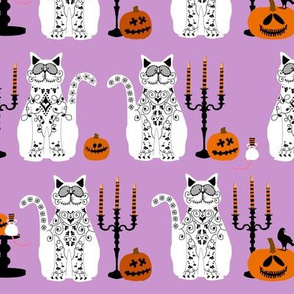 Day of Dead Cats - white
