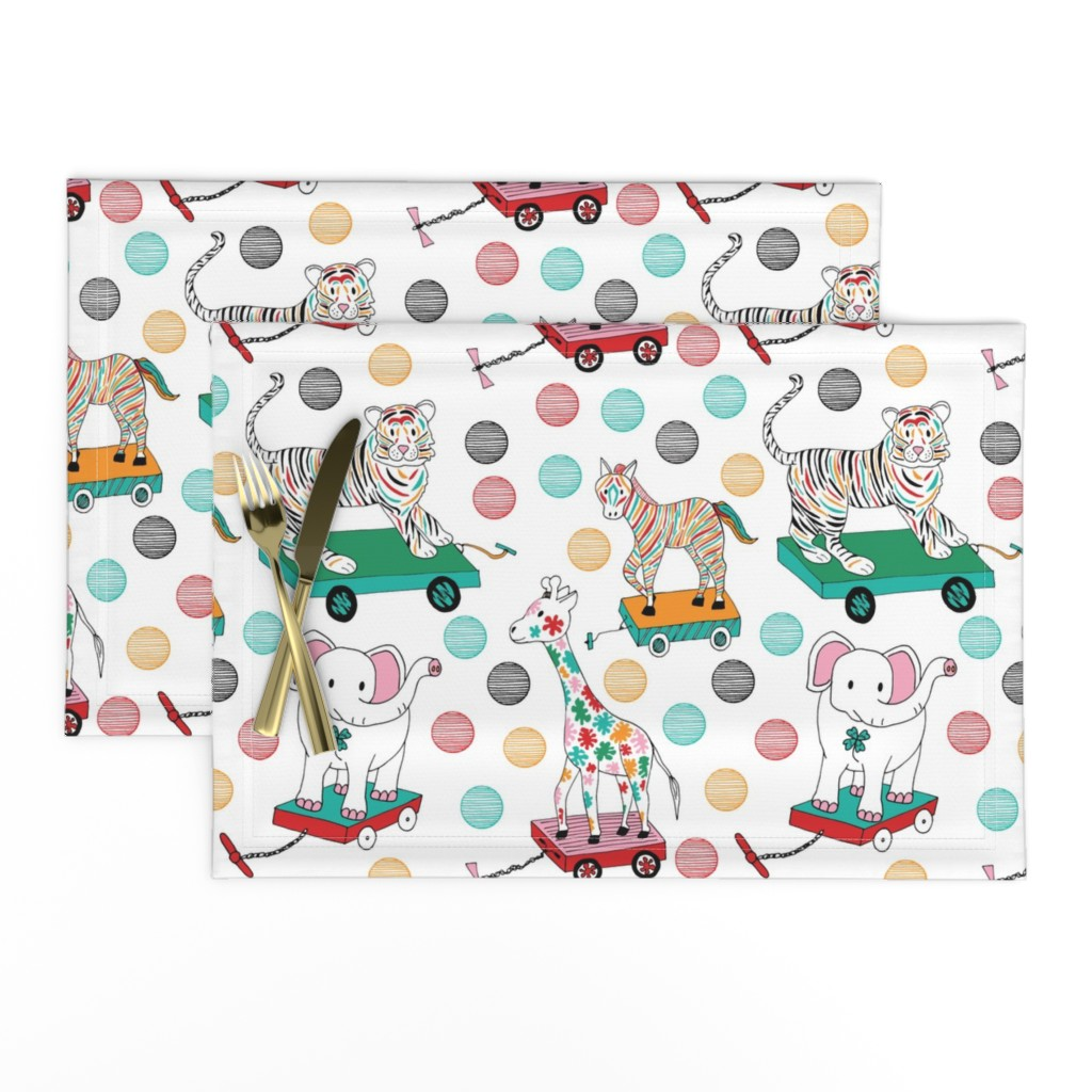 Lamona Cloth Placemats featuring Animal pull toys, Medium by palifino