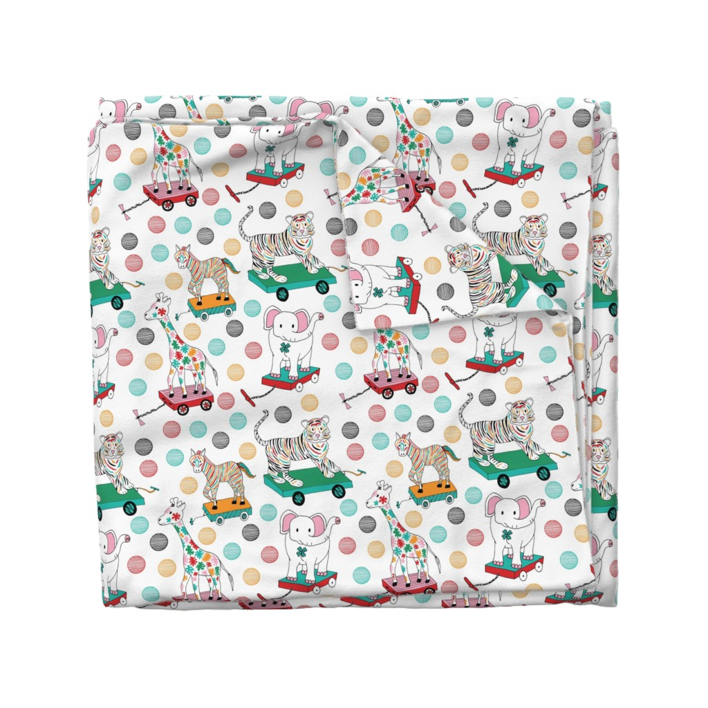 Wyandotte Duvet Cover featuring Animal pull toys, Medium by palifino