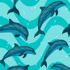 A flock of dolphins in the sea.