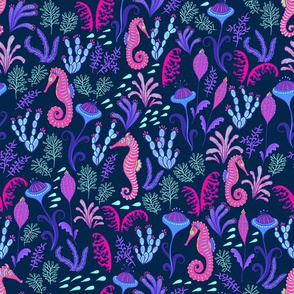 Seahorses, seaweed on a dark blue background.