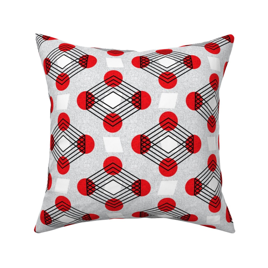 Catalan Throw Pillow featuring Bauhaus boxes on wheels by ottomanbrim