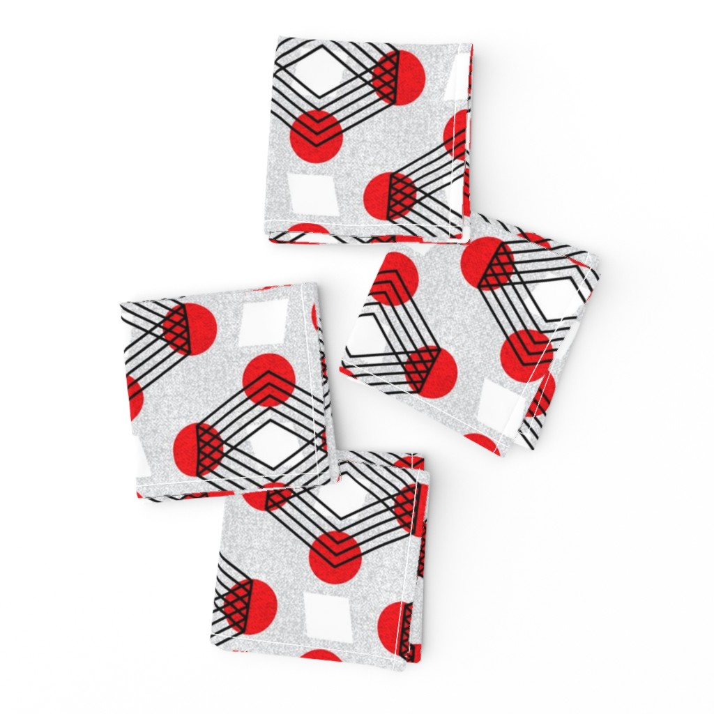 Frizzle Cocktail Napkins featuring Bauhaus boxes on wheels by ottomanbrim