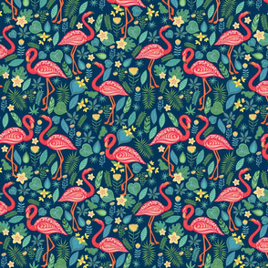 Decorative seamless pattern with flamingo, tropical flowers and leaves.