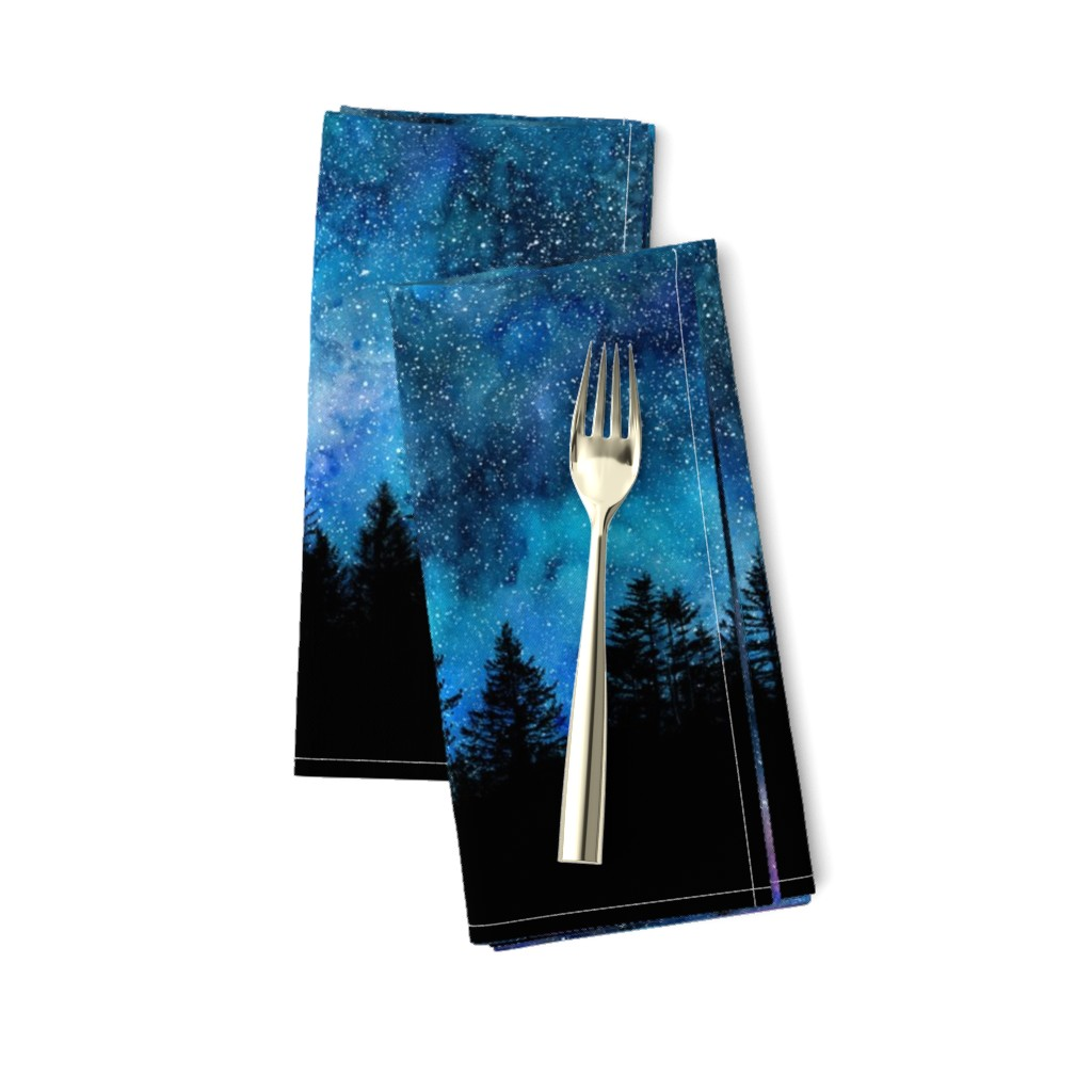 Amarela Dinner Napkins featuring  Starry night - 1 yard high - forest silhouette with sky and thousands of stars by rebecca_reck_art