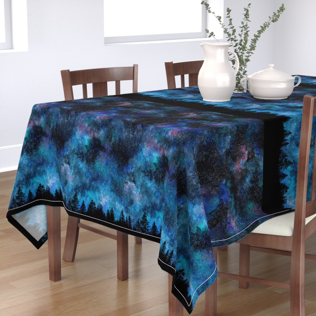 Bantam Rectangular Tablecloth featuring  Starry night - 1 yard high - forest silhouette with sky and thousands of stars by rebecca_reck_art