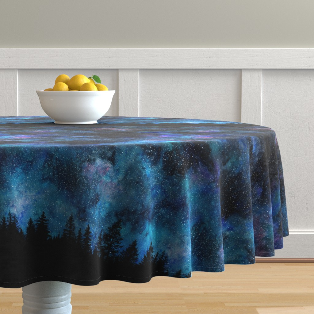 Malay Round Tablecloth featuring  Starry night - 1 yard high - forest silhouette with sky and thousands of stars by rebecca_reck_art