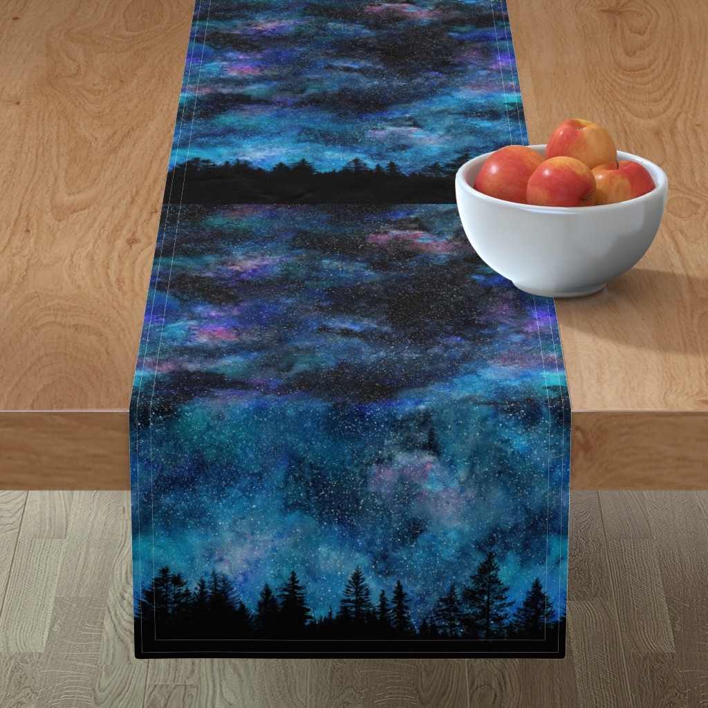 Minorca Table Runner featuring  Starry night - 1 yard high - forest silhouette with sky and thousands of stars by rebecca_reck_art