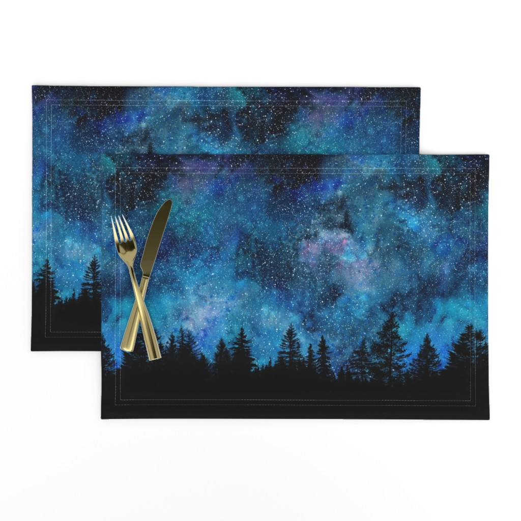 Lamona Cloth Placemats featuring  Starry night - 1 yard high - forest silhouette with sky and thousands of stars by rebecca_reck_art