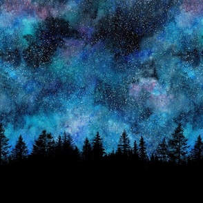 Starry night - 1 yard high - forest silhouette with sky and thousands of stars