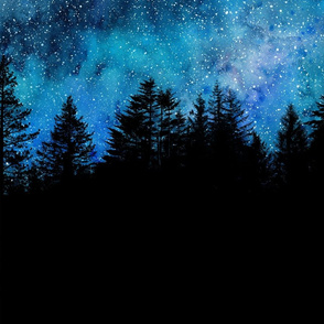 Starry night sky over the forest - 2 yards high!