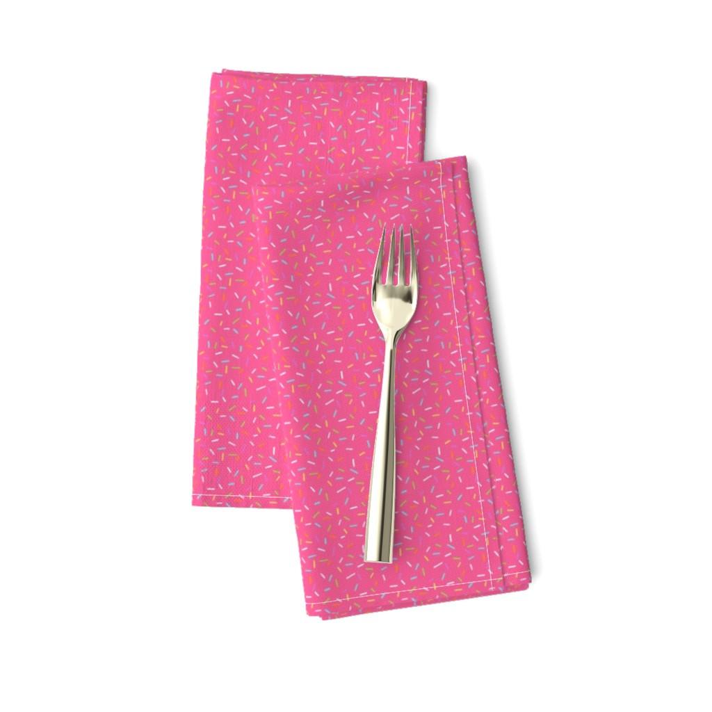 Amarela Dinner Napkins featuring Rainbow Sprinkles on bright pink by hazelfishercreations