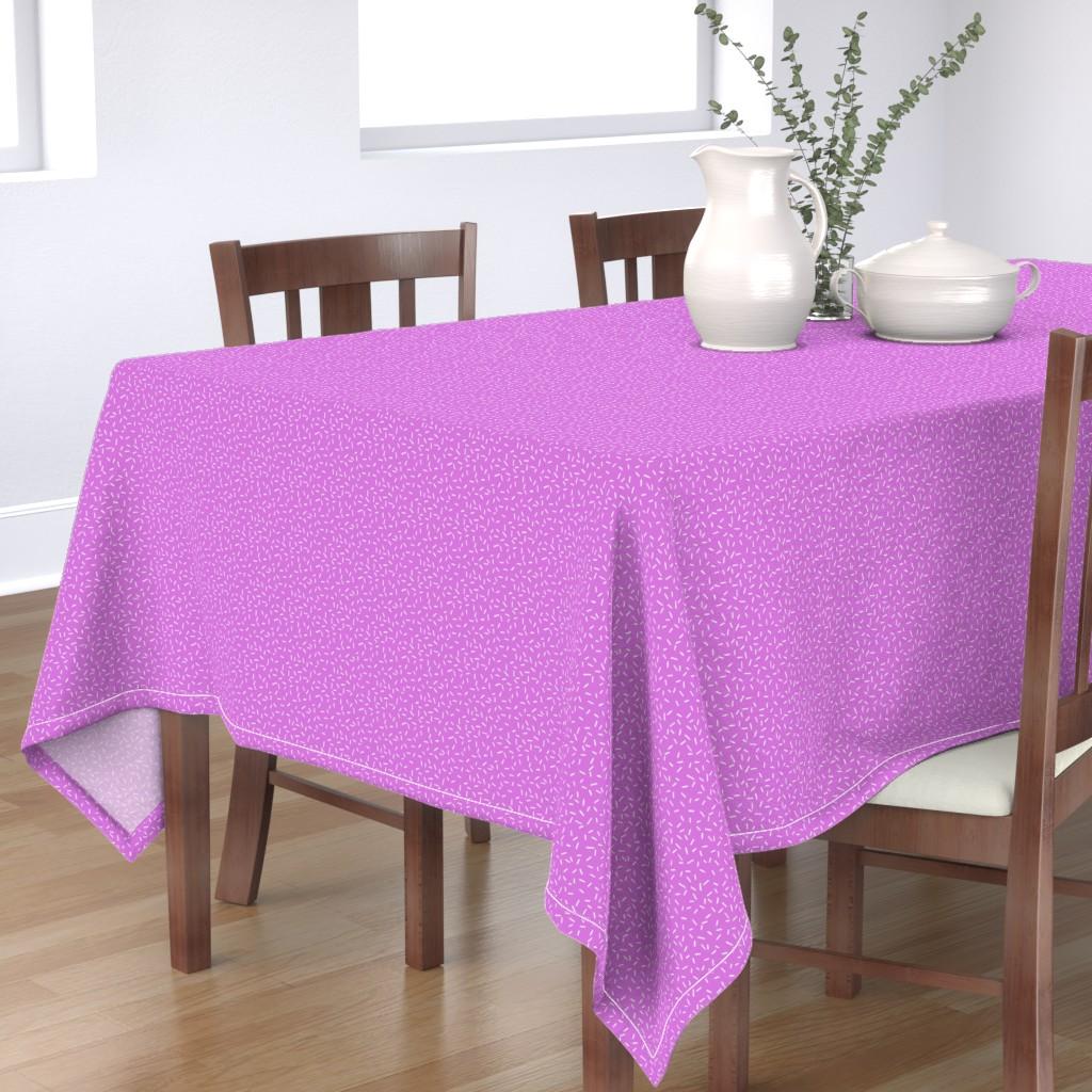 Bantam Rectangular Tablecloth featuring White Sprinkles on Purple by hazelfishercreations