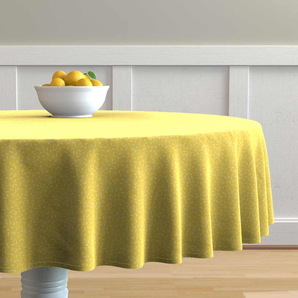 Malay Round Tablecloth featuring White Sprinkles on Yellow by hazelfishercreations