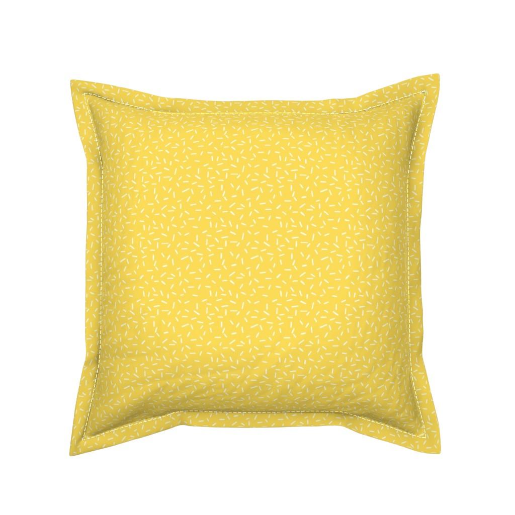Serama Throw Pillow featuring White Sprinkles on Yellow by hazelfishercreations