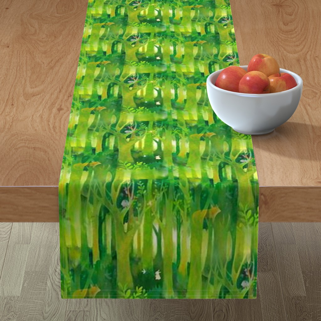 Minorca Table Runner featuring Into the Emerald Forest we Go by floramoon