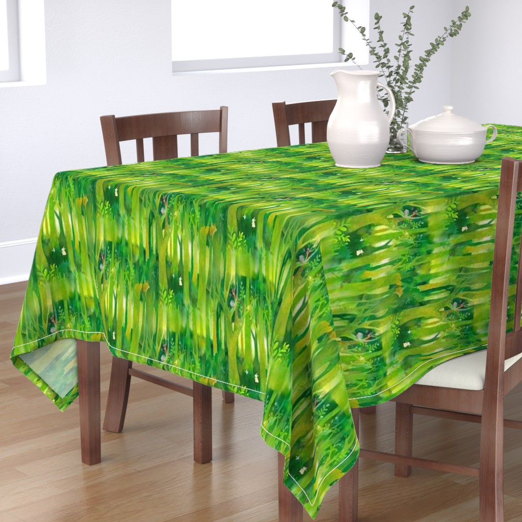 Bantam Rectangular Tablecloth featuring Into the Emerald Forest we Go by floramoon