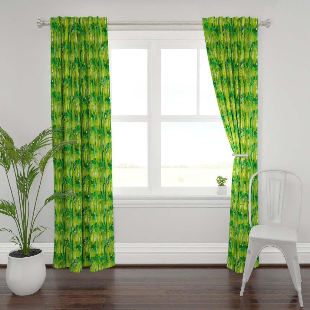 Plymouth Curtain Panel featuring Into the Emerald Forest we Go by floramoon