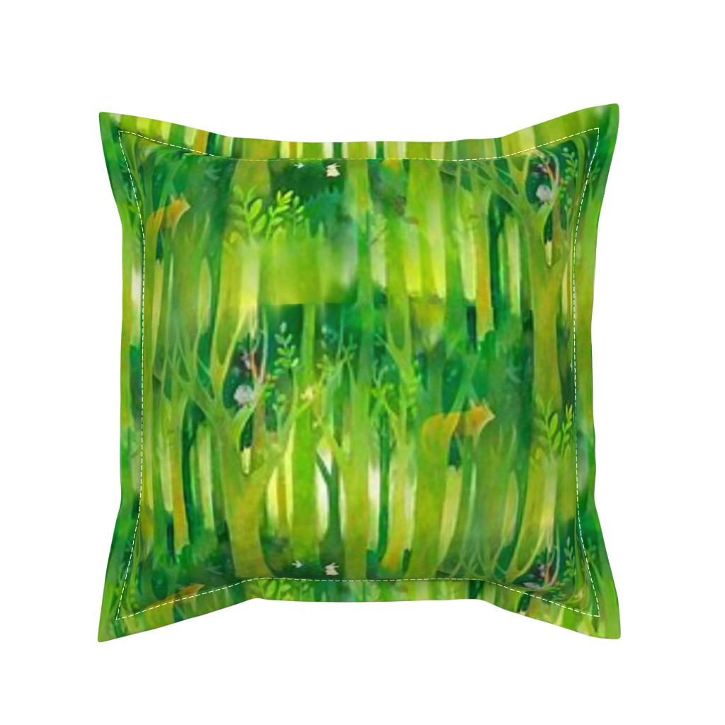 Serama Throw Pillow featuring Into the Emerald Forest we Go by floramoon