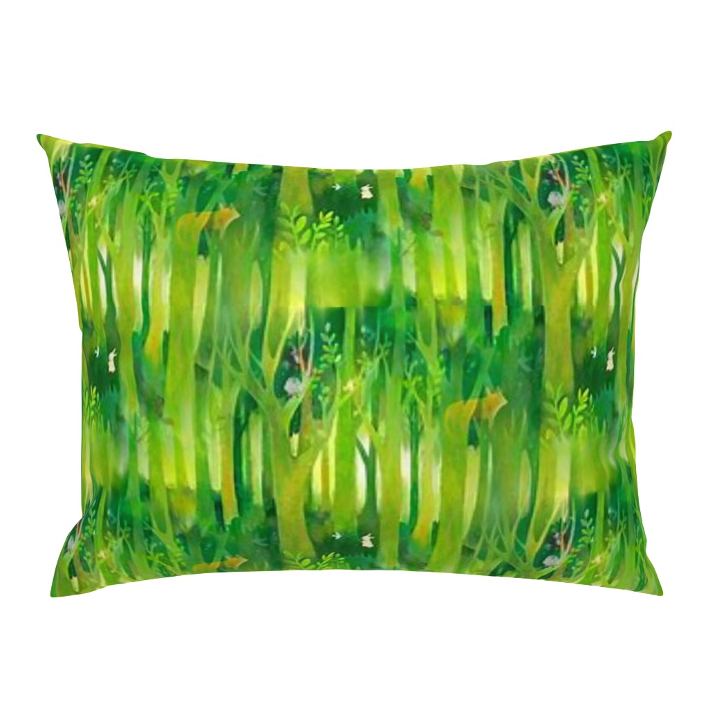 Campine Pillow Sham featuring Into the Emerald Forest we Go by floramoon