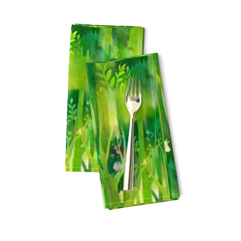 Amarela Dinner Napkins featuring Into the Emerald Forest we Go by floramoon
