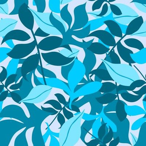 Leaves in Blue and Aqua on Light Blue Background