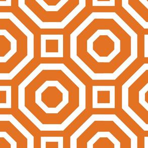 Geometry White on Tangerine