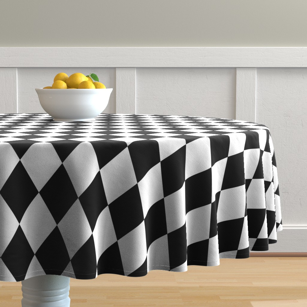 Malay Round Tablecloth featuring Classic Black and White Harlequin Diamond Check by paper_and_frill