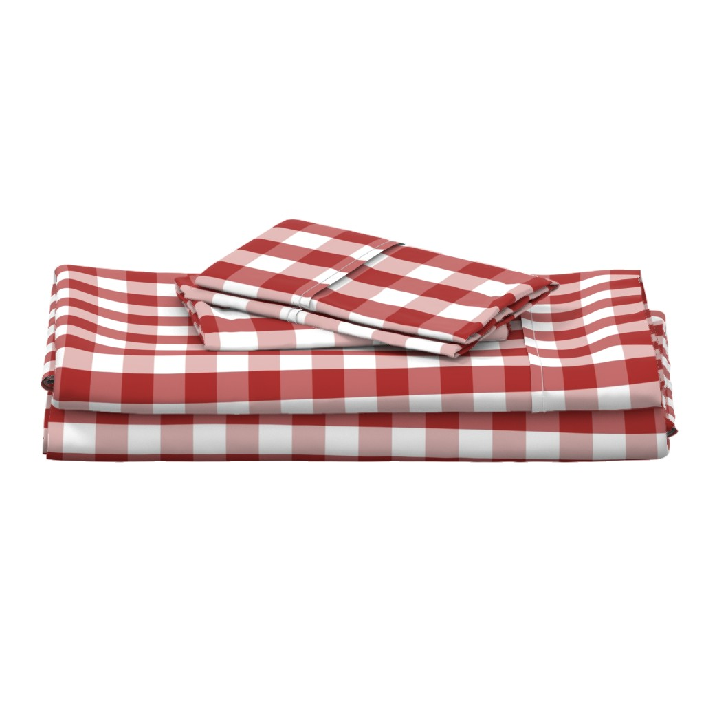 Langshan Full Bed Set featuring Aurora Red Gingham Check by paper_and_frill