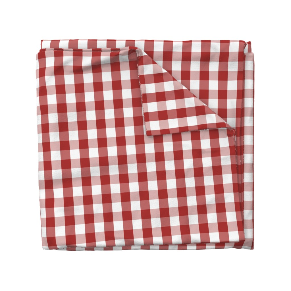 Wyandotte Duvet Cover featuring Aurora Red Gingham Check by paper_and_frill